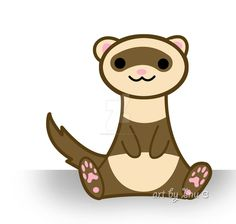 Cute ferret by inu-chan-free on DeviantArt Baby Ferrets, Cute Ferrets, Funny Animals, Cute Animals, Pocket Pet, Shrink Art, Quokka, Sketchbook Inspiration, Sketchbook Ideas