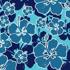 Illustration of Pattern with Hibiscus flowers on blue background, vector illustration vector art, clipart and stock vectors. Blue Hibiscus, Hibiscus Flowers, Hawaii Pattern, Hawaii Flowers, Hawaiian Designs, Emoji Love, Lotus, Disney Paintings, Textiles