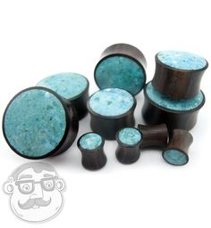 Turquoise Stone Inlay Wood Plugs (6G - 1 Inch) - Sold in Pairs - New!