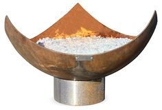 King Isosceles Fire Bowl by John Unger Seasons In The Sun, Outside Room, Fire Bowls, Backyard, Patio, Fireplace Mantle, One Kings Lane, Luxury Furniture, Outdoor Furniture