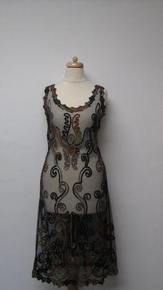 70's Embroidered Tulle Dress / Vintage 20's by DarkbloomVintage, $78.00