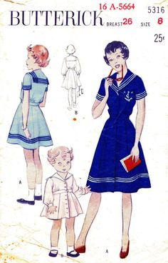 Vintage children's nautical sailor pattern from Butterick.