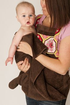 What a fabulous idea!! No more wet clothes for mummy at bath time!! Baby Bath Apron Towel & Mitt pattern $8.00