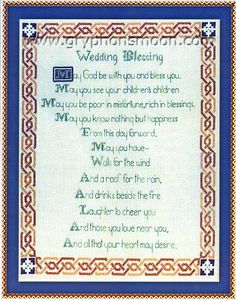 Celtic Wedding Blessing Cross Stitch Pattern - Item Detail for SEW-864 at Gryphon's Moon