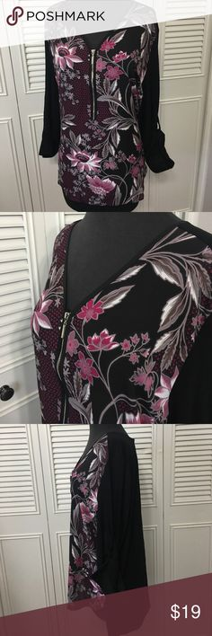 Adrianna Papell Top NWT Cute high low zip v neck front detail, black back, front is Sheet with merlot Floral print, silver hardware. Sleeve are adjustable between long and 3/4. Adrianna Papell Tops