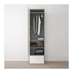 IKEA - VISTHUS, Kleiderschrank, , Höhenverstellbare Fußkappen sorgen für Standfestigkeit auch bei leicht unebenem Boden.Einfach zu montieren.