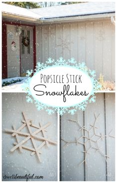 Super easy-to-make popsicle stick snowflakes. Perfect as a kid's craft on a snowy afternoon and great as Christmas or winter decor.