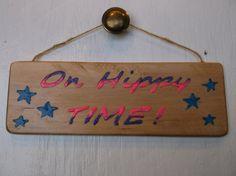 On Hippy Time pink-purple and blue  Hippy Decor  by Driftinn