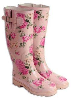 Pink roses rain boots