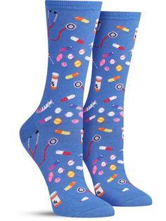 Meds Awesome Novelty Socks for Women, in blue