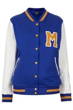 M Jersey Varsity Bomber Jacket #topshop #jersey #jacket