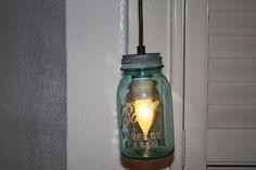 Vintage blue Ball jar pendant lamp by VintageIlluminations on Etsy, $30.00