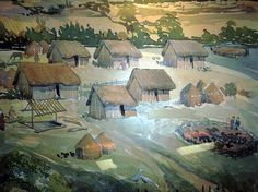 The reality ~ Artists impression of an early Anglo-Saxon village. Anglo-Saxon family groups consisted largely of farmer-warriors. Their lives centred on the village and farm.