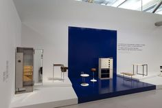 View of the exhibition Eileen Gray at Centre Pompidou, Paris blue and white design