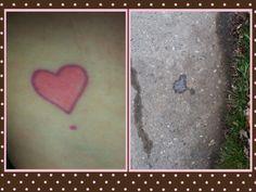 Le coeur que j'ai fait tatouer a la suite du décès de ma fille. Je lui demande un signe hier et voilà ce que je retrouve sur le trottoir ce matin