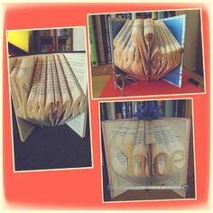 Beautiful folded book art. Available to order through my Facebook page. Www.facebook.com/Novel.Creations.2014