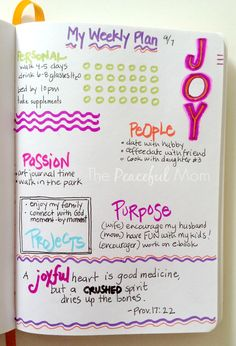 Get Organized! Live your true priorities with a weekly plan. See my Weekly {Joyful} Plan 2014-09-08 - The Peaceful Mom #organize