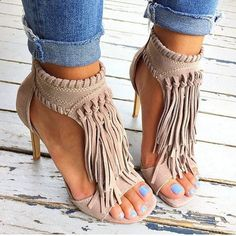 Shop Trendy Tassel Stiletto High Heels Sandals on sale at Tidestore with trendy design and good price. Come and find more fashion High Heel Sandals here. Crazy Shoes, Me Too Shoes, Mode Shoes, Beautiful Shoes, Gorgeous Heels, Shoe Boots, Women's Shoes, Stiletto Shoes, Shoes Style
