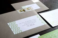 Oh So Beautiful Paper: Susie + Bradford's Modern Chevron Stripe Wedding Invitations