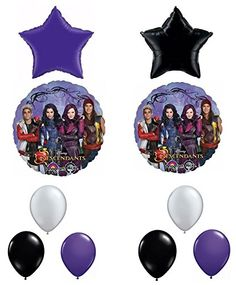 Disney The Descendants Birthday Party Balloon decorations Kit (2 star , 2 mylar descendants, 6 latex balloons) - Anagram