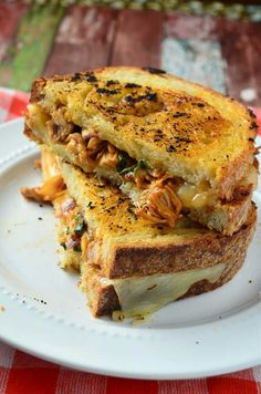 Grilled Cheese Sandwiches kicked up with bbq sauce, chicken, red onions and cilantro.