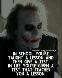 """Do you agree with this? Type """"JOKER"""" if you agree! Double tap if you like it ❤ Tag a friend who needs to see it 👇🙄 Comment ''YES'' if you agree! Joker Qoutes, Best Joker Quotes, Badass Quotes, Good Life Quotes, Real Quotes, Wise Quotes, Attitude Quotes, Inspirational Quotes, Motivational"""