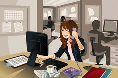 "Businesswoman Working in the Office  #GraphicRiver         A vector illustration of a businesswoman working in the office. Part of ""A Day In Life"" series (see others in my portfolio). Vector illustration, zip archive contain eps 10 and high resolution jpeg.     Created: 3October13 GraphicsFilesIncluded: VectorEPS Layered: No MinimumAdobeCSVersion: CS Tags: adult #beautiful #business #businesswoman #cartoon #communicate #communication #computer #conversation #cute #desk #drawing #employee…"