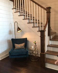 "46 Likes, 1 Comments - Amy (@the_refinedfarmhouse) on Instagram: ""Shiplap Shiplap #Shiplap! Need I say more! Beautiful #sittingarea with a pop of color!…"""