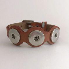 Triple Snap-LT Brown Leather Cut-Out Snap Bracelet 18mm-20mm Snaps