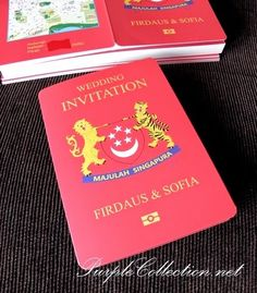 Red passport wedding invitation card pinterest passport wedding singapore passport wedding invitation card stopboris Choice Image