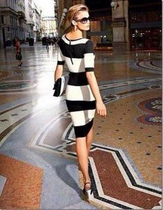 Great New Looks For Spring 2014 - Style Estate   Gorgeous black and white  striped cocktail dress business dress. So elegant! 205f7a10fc