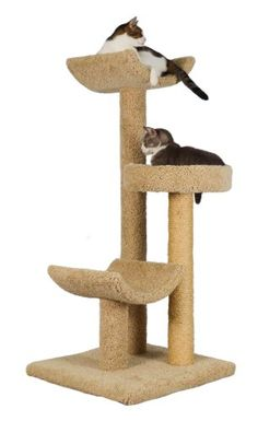 """Molly and Friends """"Layabout"""" Premium Handmade 3-Tier Cat Tree with Sisal, Model 323, Beige"""