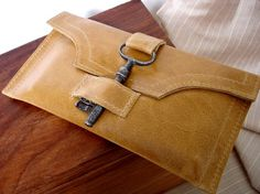 leather wallet with antique key by Urban Heirlooms on Etsy