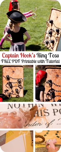 Fun pirate game with a FREE jumbo printable, plus step by step intructions on how to construct it!.  Pirate party ring toss game .