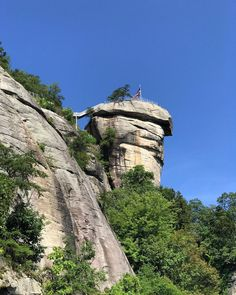 """The Chimney Rock monolith at Chimney Rock State Park near Lake Lure North Carolina. The last 17 minutes of the motion picture """"The Last of the Mohicans"""" was shot on location here. Chimney Rock North Carolina, Lake Lure North Carolina, Chimney Rock State Park, Back Road, Adventure Activities, Great Smoky Mountains, Future Travel, Weekend Getaways, State Parks"""