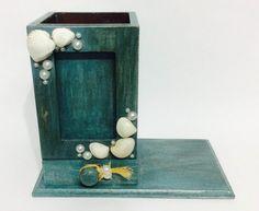 Porta lápis e porta retratos, tema marinho