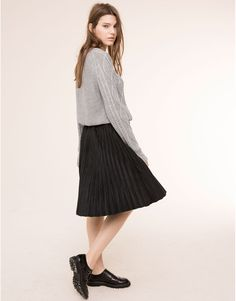 accordian  skirts and sneakers  | FAUX SUEDE ACCORDION PLEAT SKIRT - SKIRTS - WOMAN - PULL&BEAR Bulgaria