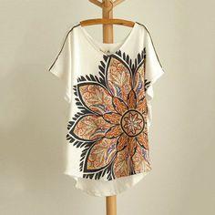 big flower batwing long t-shirt