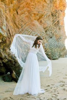 Long Sleeve Boho Wedding Dress with Silk Chiffon and Soft