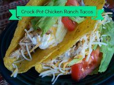 Crock-Pot Chicken Ranch Tacos - Click for the recipe! #Recipe #CrockPot #SlowCooker
