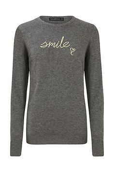 Buy Sugarhill Boutique Nita Smile Embroidery Jumper, Grey/Yellow from our Women's Knitwear range at John Lewis & Partners. Yellow Long Sleeve Tops, Slogan Tops, Vintage Inspired Dresses, Grey Yellow, Fashion 2017, Grey Sweater, Pullover, Boutique, Clothes For Women