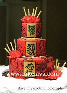Chinese dragon and phoenix wedding cake with lotus flowers