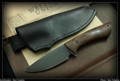 Drop point hunter with curly Bastogne walnut handle. Made by BRT Bladeworks.