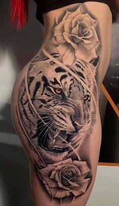 Tiger Tattoo Thigh, White Tiger Tattoo, Cute Thigh Tattoos, Side Hip Tattoos, Cute Hand Tattoos, Badass Tattoos, Body Art Tattoos, Cool Tattoos, Side Of Thigh Tattoo
