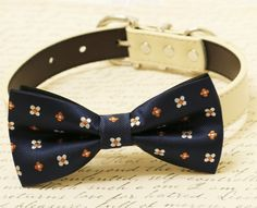 Navy dog bow tie, Bow tie attached to dog collar, Pet wedding accessory, some thing blue, dog birthday gift, Floral dog bow tie, dog collar
