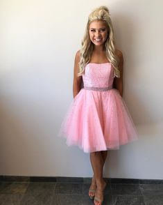7830b52fd06 Strapless Beaded Tulle Pink Short Homecoming Dresses 2018