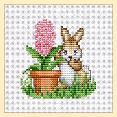 Free rabbit with hyacinth cross stitch pattern by Ellen Maurer-Stroh.