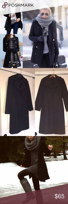 Long black pea coat-LIKE new! Express brand long black pea coat. Super warm for winter. Beautiful silk-like trim on hemming of coat! Get it before it's gone. True to size! Express Jackets & Coats Pea Coats