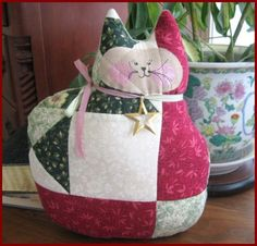 SALE Cat Doll Pillow Cloth Doll 11 inch QUILTED by CharlotteStyle, $14.00