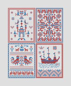 Postcards from Zealand, part 2 - Traditional danish folk embroidery sampler pdf pattern for cross stitch Embroidery Alphabet, Embroidery Sampler, Folk Embroidery, Embroidery Stitches, Stitch Shop, Irish Traditions, Modern Cross Stitch, Beautiful Patterns, Denmark